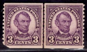US Stamp #600 Coil Line Pair 3c Lincoln MINT Hinged SCV $30