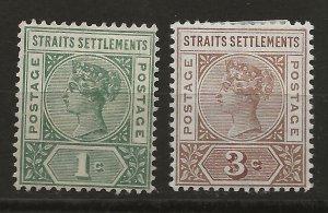 Straits Settlements 83, 85 SG 95, 97 MH VF 1892-99 SCV $27.00 (jr)