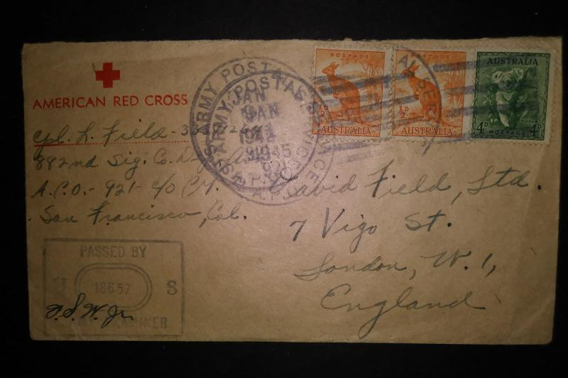 Red cross envelope with 3 Australian stamps