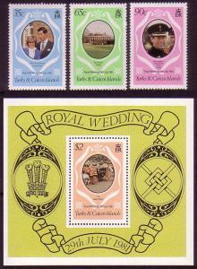 Turks and Caicos Charles and Diana Royal Wedding Charles and Diana 3v+MS