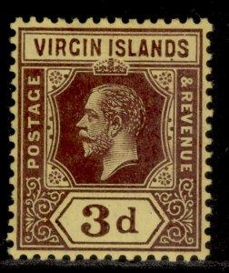BRITISH VIRGIN ISLANDS GV SG73, 3d purple/yellow, M MINT.