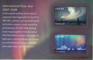 Stamp US Sc 4123 Sheet 2007 Polar Lights Aurora Borealis Australis Arctic MNH