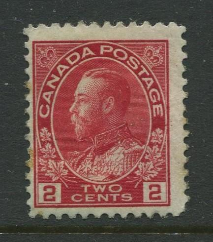 Canada - Scott 106 - Admiral Issue - 1911 - MLH - Single 2c Stamp