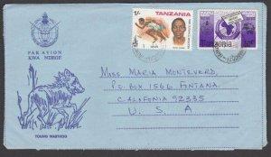 TANZANIA 1980 Young Warthog formular aerogramme used to USA ex Iringa.......L921