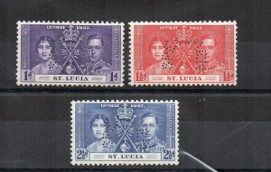 St Lucia 1937 Coronation SPECIMEN perfins MH