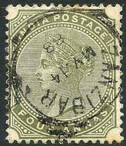 Zanzibar SGZ69 4a Olive-green Z5 Squared Circle dated 14th May 1888