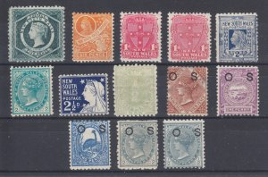 New South Wales SG 233b/O58a MLH. 1882-1905 issues, 13 different, sound, F-VF
