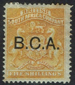 BRITISH CENTRAL AFRICA 1891 BCA OVERPRINTED RHODESIA ARMS 5/-