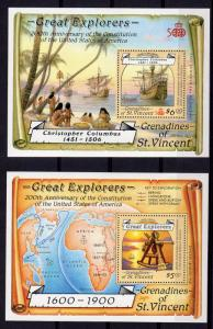 St.Vincent Grenadines 1988 Sc#604/605 Discovery of America by Columbus 2 S/S MNH