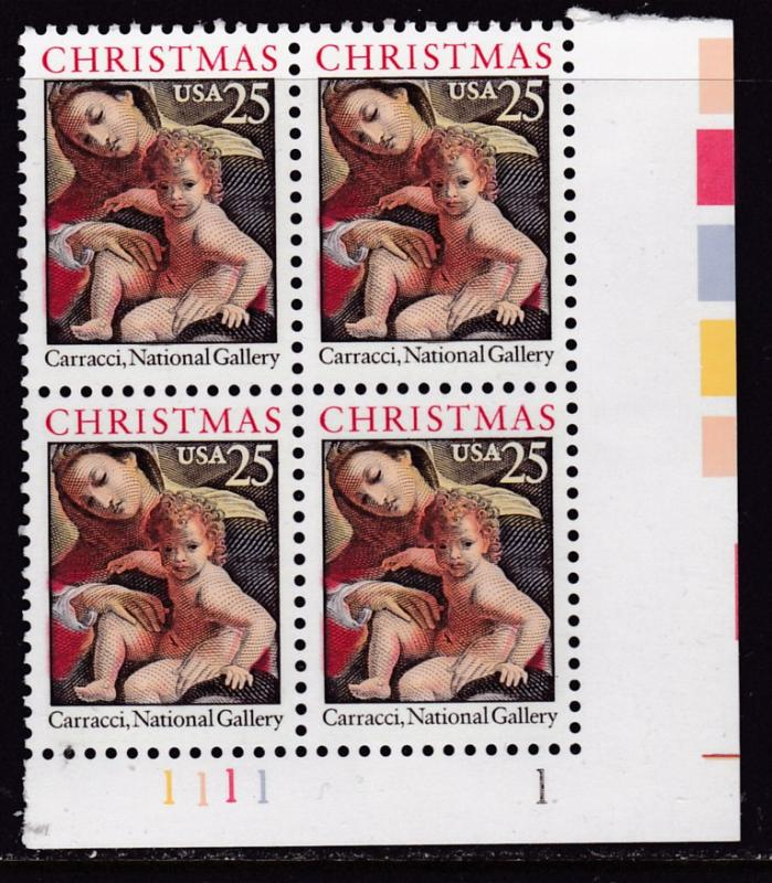 United States 1989 Christmas Issue (Religious) Plate Nr.Block of Four VF/NH