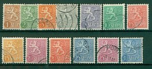 Finland 1954 Lion definitives redesigned 1m to 30m (13v) VFU Stamps