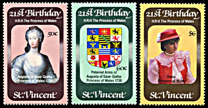 St. Vincent MNH 647-9 Princess Diana's 21st Birthday 1982 SCV 2.25