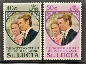 St.Lucia  349-50 Mint OG 1973 Princess Anne's Wedding