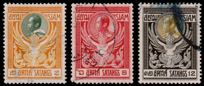 Siam - Thailand Scott 139, 141-142 (1910) Used H F-VF, CV $6.50