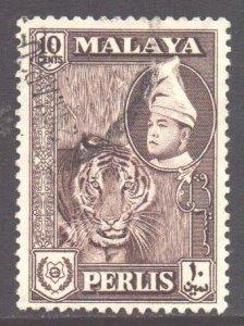 Malaya Perlis Scott 34 - SG34, 1957 Sultan 10c used