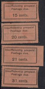 ZANZIBAR 1926 POSTAGE DUE TYPESET 15C 20C 21C AND 31C