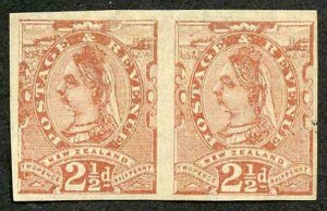 NEW ZEALAND SG210 1890 2 1/2d the new value IMPERF PLATE PROOF in red-brown