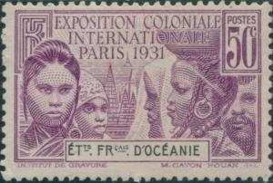 French Oceania 1931 SG80 50c black and mauve Colonial Exhibition MLH