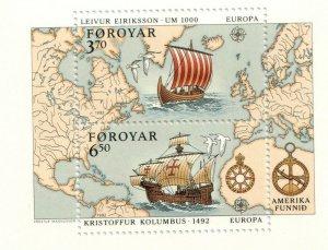 1992  FAROE ISLANDS - SG: MS 226 - EUROPA - COLUMBUS  - UNMOUNTED MINT