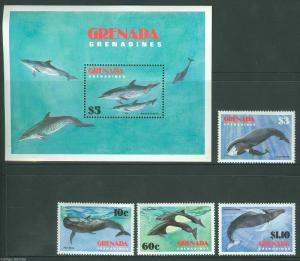 GRENADA GRENADINES WHALES SC#529/33 MINT NEVER HINGED AS SHOWN