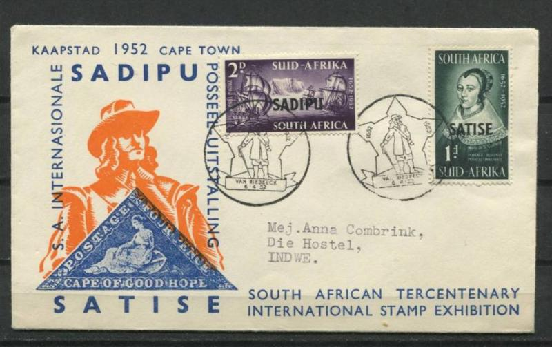 South Africa 1952 Cover Cape Town Overprint Philatelic Exhibitoon Special Cancel
