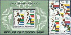 1972 Togo Olympics Munich, complete set+Sheet VF/MNH LOOK!
