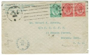 SOUTH AFRICA 1918 KGV CENSOR COVER TO USA WITH LETTER