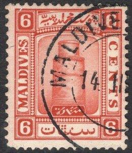 MALDIVE ISLANDS-1933 6c Scarlet watermark sideways Sg 15b FINE USED V50059