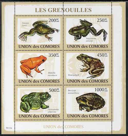 Comoro Islands MNH S/S Frogs Reptiles 2009 6 Stamps