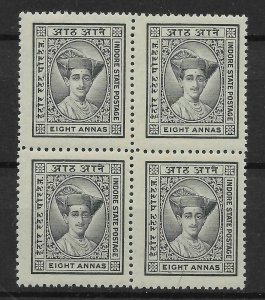 INDIA-INDORE SG27 1927 8a SLATE-GREY BLOCK OF 4 MNH