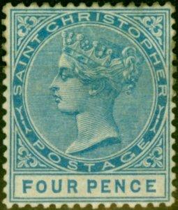 St Christopher 1882 4d Blue SG17 Good Fresh Mtd Mint CV £650