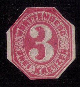1862 WURTTEMBERG Postal Stationery Drei Kreuzer Cut To Shape Unused