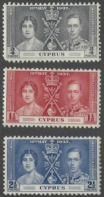 Cyprus #140-142 Mint Hinged Set of 3 Coronation Issue