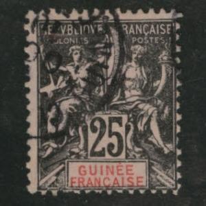 FRENCH GUINEA Scott 10 issued in 1892, 25c blk on rose CV $8