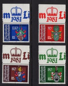 Liechtenstein  #681-684  1980  MNH  Arms of Bailiffs   1st series