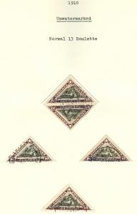 LIBERIA - Balance of Collector's study of the 1910-12 surcharged triangle issues