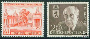 German Scott 9N103-4 Berlin 1954 MH* stamps  CV $16