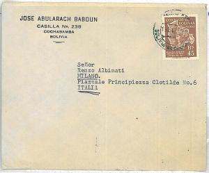 FOLKLORE - POSTAL HISTORY  BOLIVIA : COVER to ITALY 1955