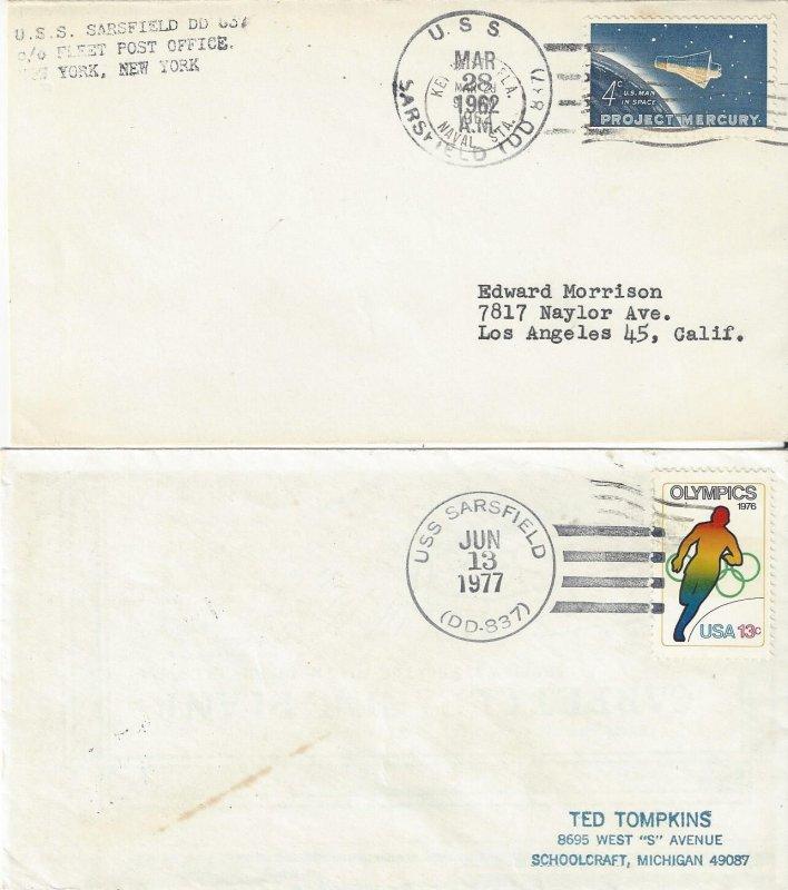US Naval Cover USS Sarsfield DD837  1962, 1977