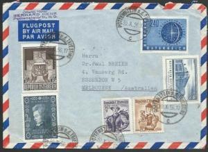 AUSTRIA 1956 airmail cover to Australia - nice franking....................59330