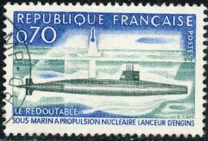 FRANCE - 1969 Yv.1615/Mi.1686 0,70fr Le Redoutable Submarine - Oblitéré TB
