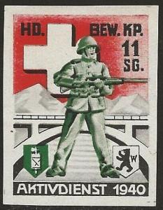 Switzerland 1939-45 WWII Feldpost Soldier GUARDING Local Vignette F/VF-NH