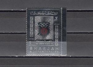 Sharjah, Michel cat. 852 A. Munich Olympics, Gold Foil issue.