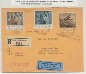 LIECHTENSTEIN 1933 REG. AIRMAIL COVER VADUZ TO USA, Sc#C1-3+96 ON REV(SEE BELOW