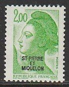 1986 St. Pierre and Miquelon - Sc 461 - MH VF - 1 single - France overprint