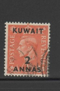 KUWAIT #75  1948  2a on 2p  KING GEORGE VI SURCHARGED   F-VF  USED  c
