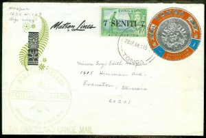 EDW1949SELL : TONGA Very nice usage of Coin stamp on 1968 Canoe Mail cover.