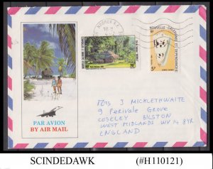 NEW CALEDONIA - 1985 AIR MAIL ENVELOPE TO ENGLAND WITH STAMPS