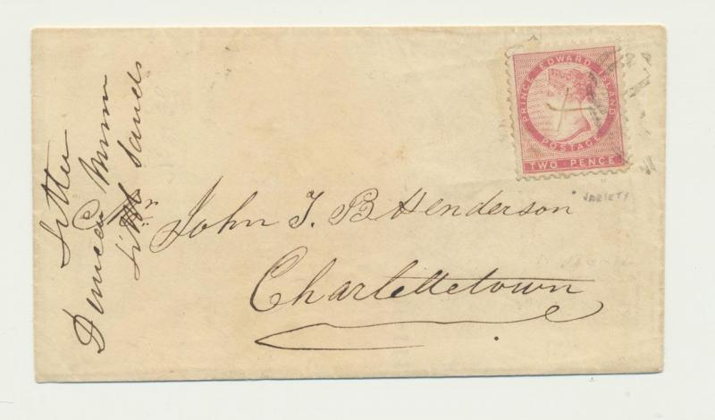 PRINCE EDWARD IS 1865 COVER, BARRED+MANUSCRIPT CANCELS RE-USED Sc#5(SEE BELOW