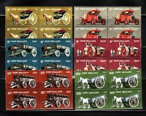 New Zealand 598-603 Blocks of 4 Set MNH Farm Vehicles (B)